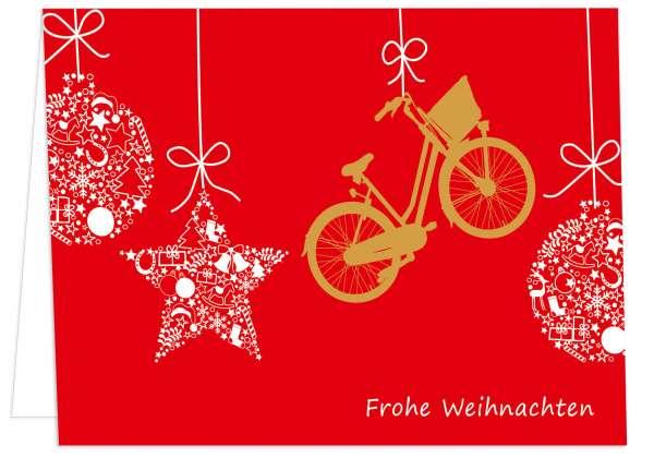 Klappkarte Kugeln und Fahrrad - Frohe Weihnachten mmm