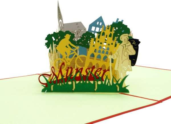 3D Pop-up Karte - Münster rot