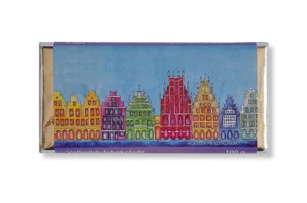 Vollmilchschokolade Bockstette - Giebelhäuser blau