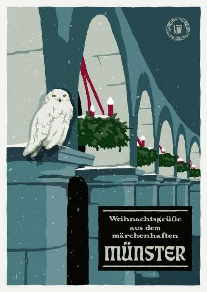 Postkarte Wentrup - Weihnachtsgrüße Eule & Adventskranz