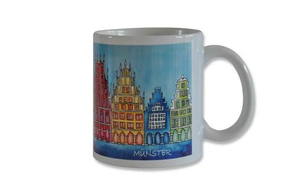 Tasse Bockstette - Münster Giebelhäuser blau