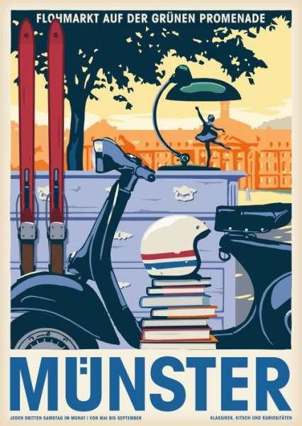 Postkarte Wentrup - Flohmarkt in Münster