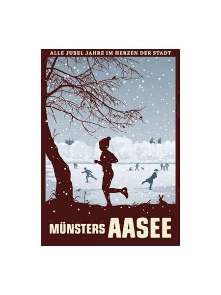 Postkarte Wentrup - Joggerin im Schnee