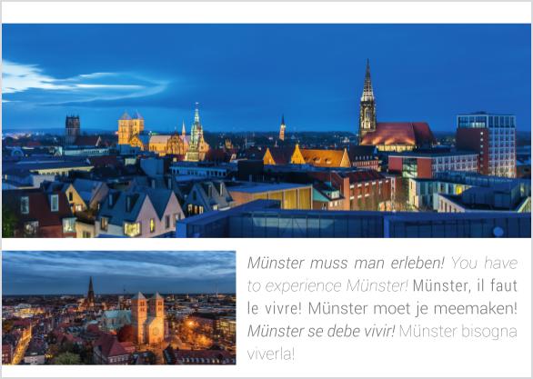 Postkarte Skyline zur Blauen Stunde mmm