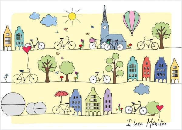 Postkarte - I love Münster_Linien mmm