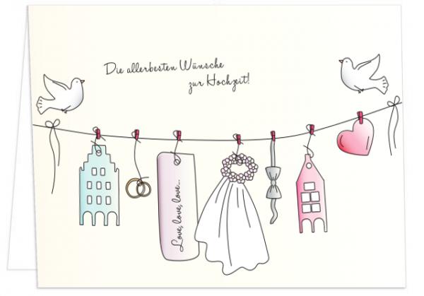 Klappkarte Die allerbesten Wünsche zur Hochzeit mmm