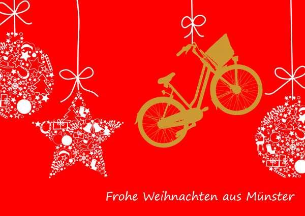 Postkarte Weihnachtskugeln und Fahrrad mmm