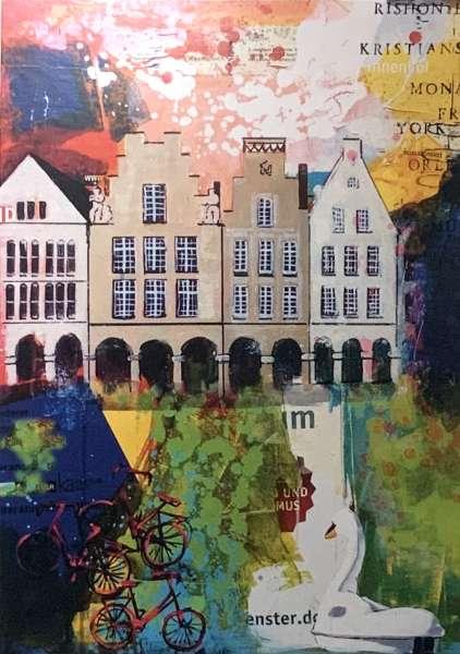 Postkarte klein Ottenjann - Giebel rot bunt
